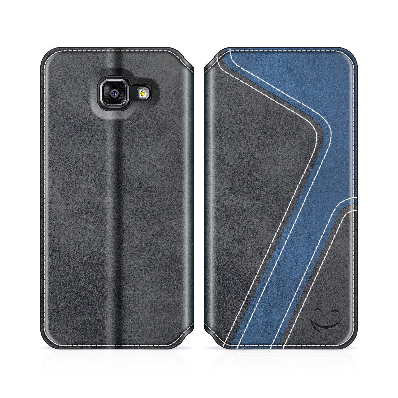 Funda Cuero Movil Samsung A5 2016 Carcasa Case con Billetera//Soporte para Samsung Galaxy A5 2016 Negro//Rojo MOBESV Smiley Funda Cartera Samsung Galaxy A5 2016