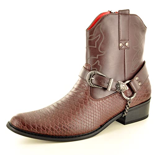My Perfect Pair Mens Dark Brown Snake Skin Full Zip Western Cowboy Ankle  Boots (Size