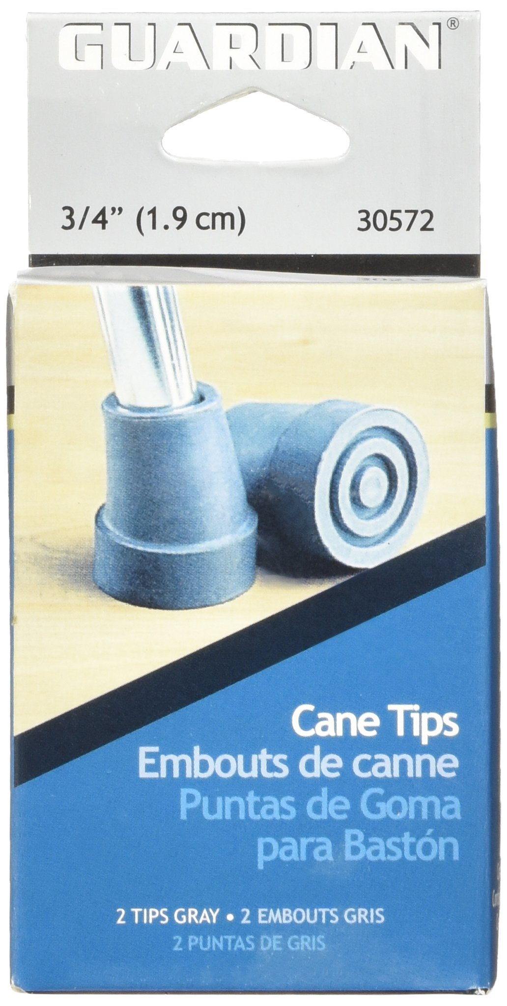 Medline G30572-Pc Cane Replacement Tips, Gray by Medline