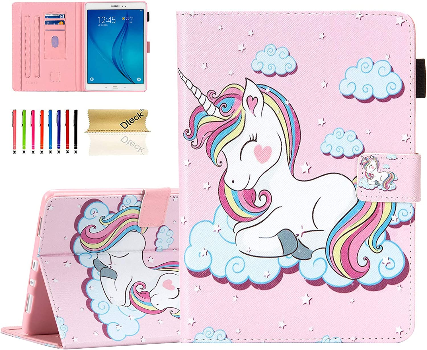 Dteck 8.0-8.4 Inch Display Universal Case Slim Leather Wallet Cute Cover for HD 8/ Samsung Galaxy Tab/Lenovo Tab/Dragon Touch/LG G Pad/Huawei/Onn/Android Tablet 8 8.3 8.4 Inch (Smile Unicorn)
