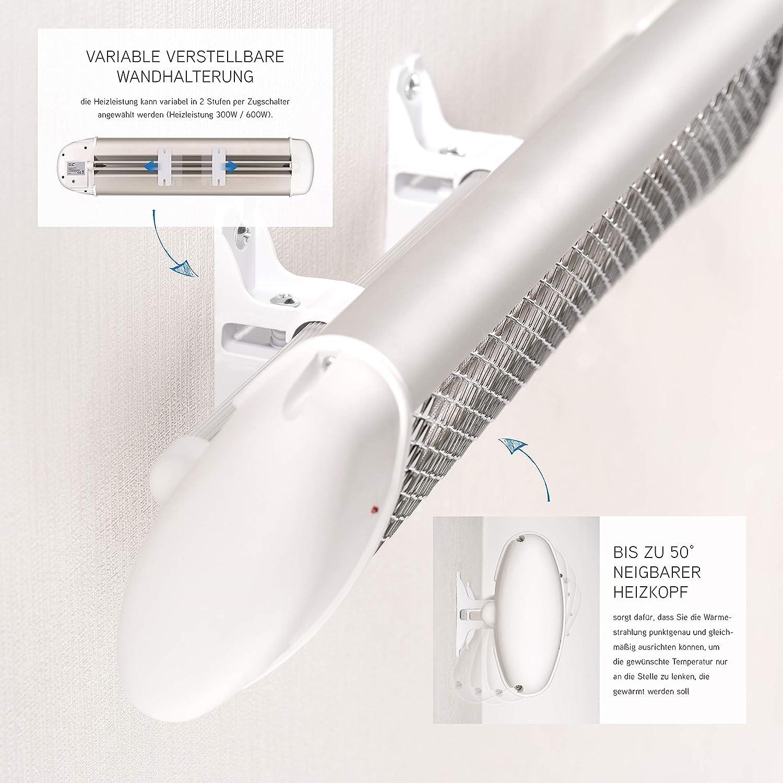 Wickeltisch-W/ärmestrahler mit Splitterschutz und Abschaltautomatik Wandger/ät