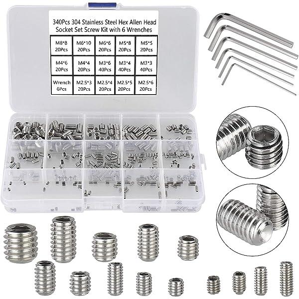 Box Steel Allen Head Socket Hex Set Grub Screw Cup Point Assortment Kit 200Pcs