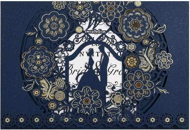 Bleu CYSKY Carte dinvitation de Mariage 50 Pack Kit dinvitations de Mariage d/écoup/é au Laser avec Papier Imprimable Vierge et enveloppes pour Mariage fian/çailles Anniversaire