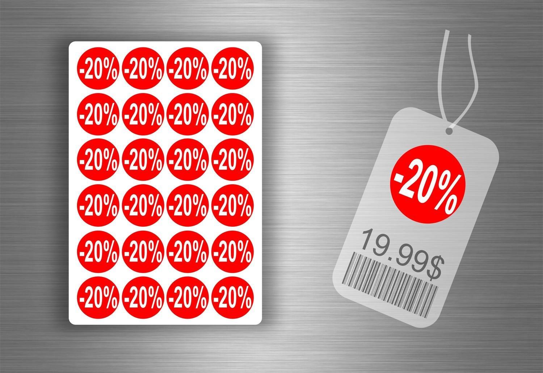 /-20/%//X 600 /Etichetta Adesivo Promozione Negozio Promozione/