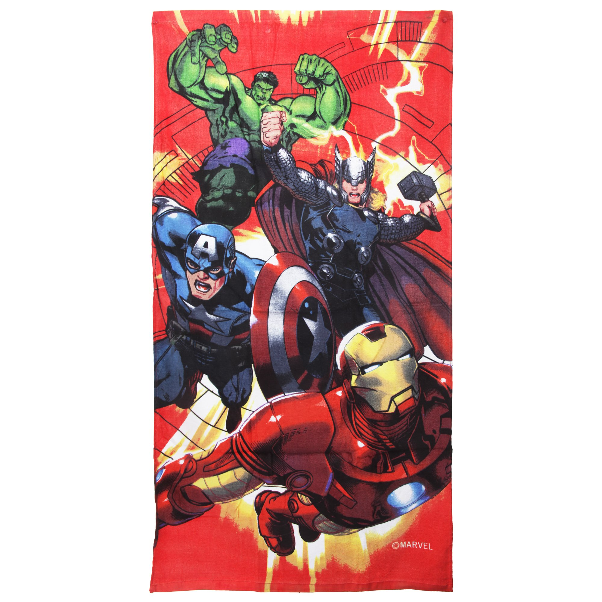 Marvel Childrens Boys Avengers Characters Printed Velour Beach Towel (55in x 28in) (Multi Colored)