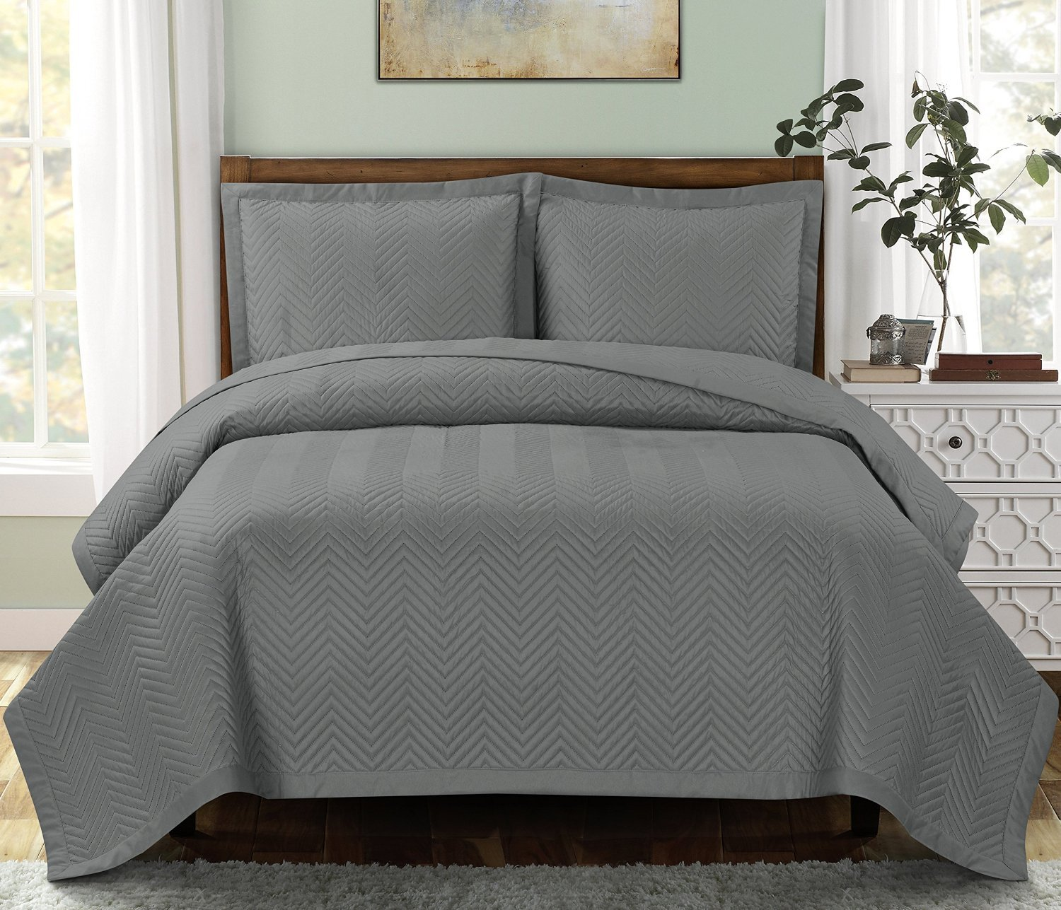 Chervon Gray Full / Queen size Coverlet 3pc set, Luxury Microfiber Embossed Print Quilted by Royal Hotel
