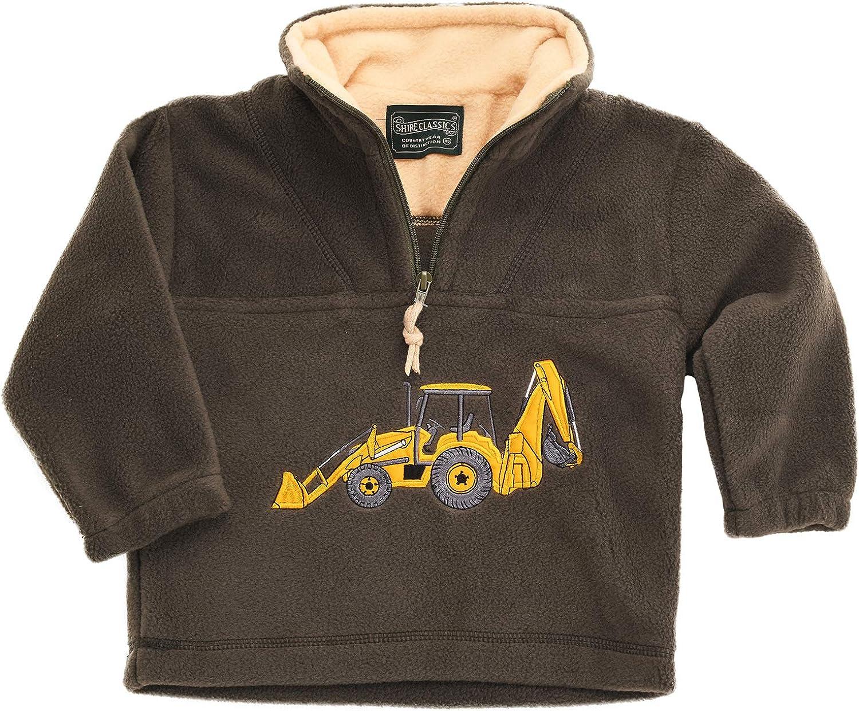 Lambland Childrens Yellow Digger Green Fleece Sweater