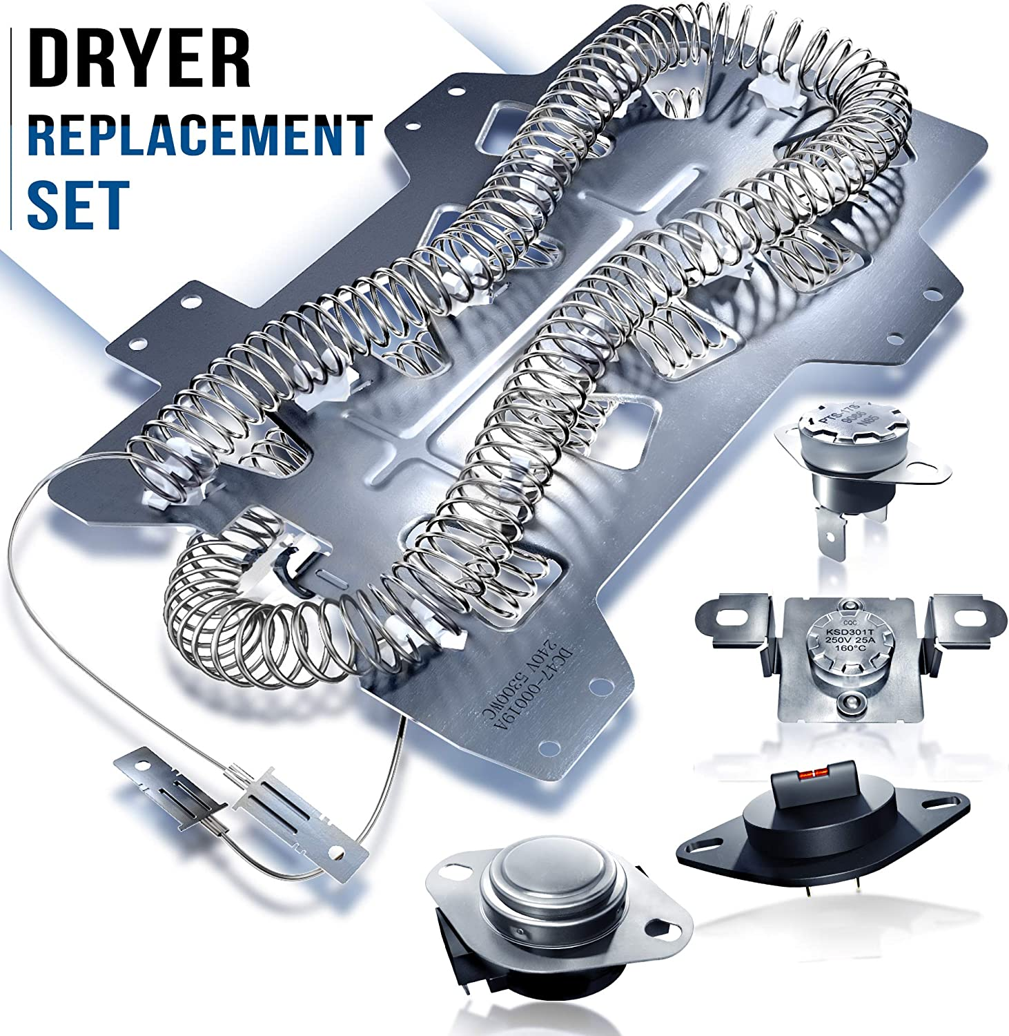 Rightex Dryer Heating Element DC47-00019A for Samsung Dryer - Thermal Fuse DC96-00887A and DC47-00016A - Dryer Thermistor DC32-00007A - Thermostat DC47-00018A - Dryer Repair Kit Replacement Parts