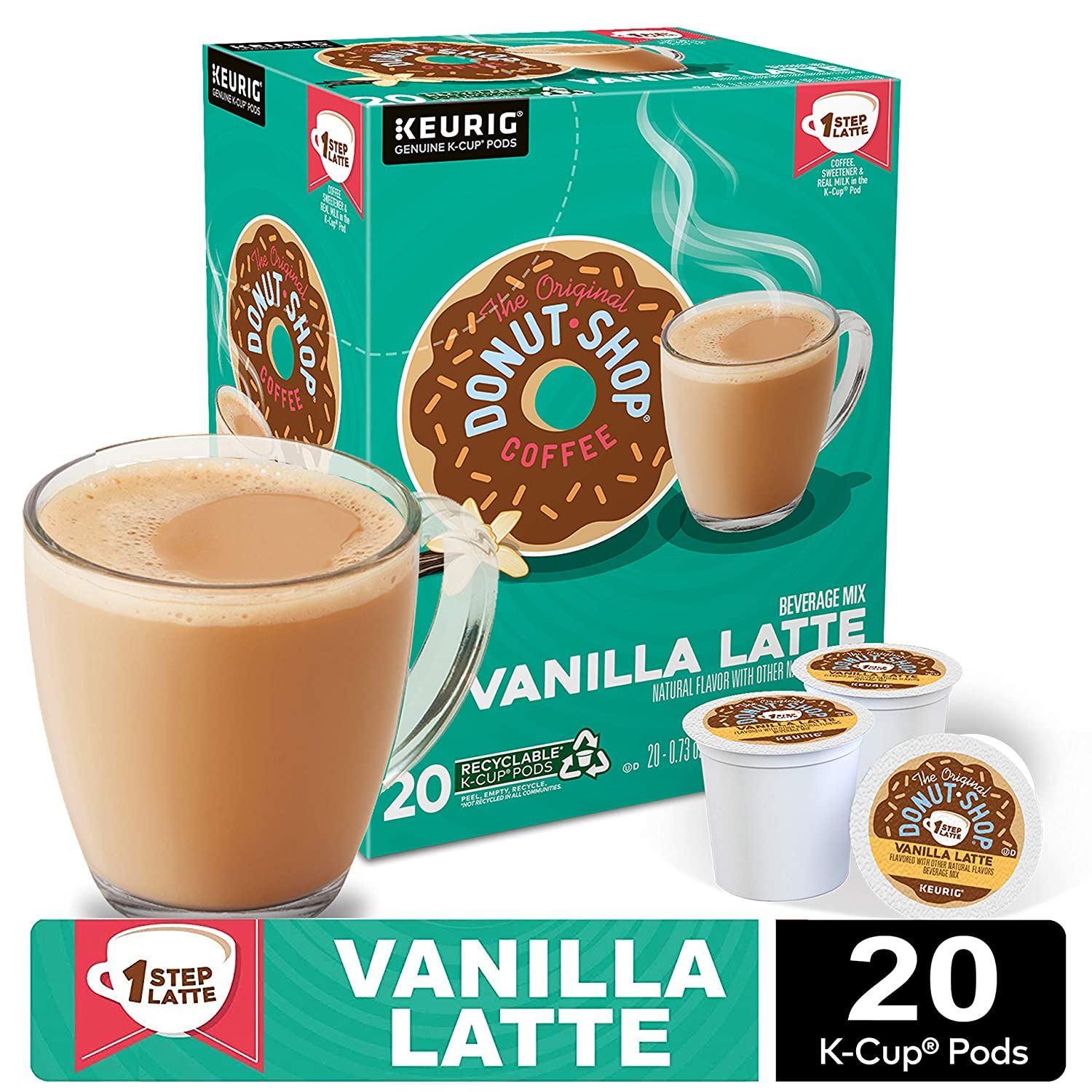 The Original Donut Shop Vanilla Latte, Single-Serve Coffee K Cup Pods, Flavored Coffee, 20Count