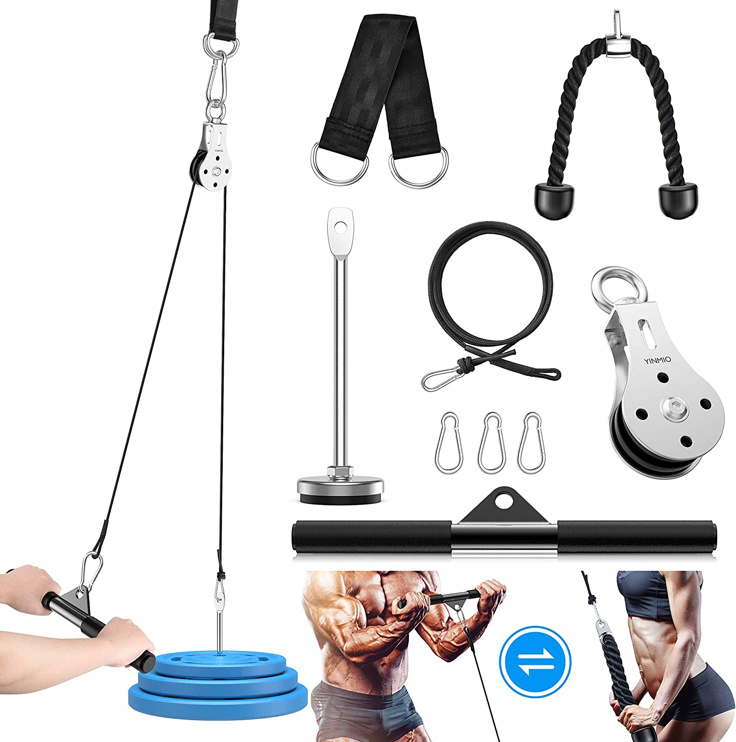 YINMIO Cable Pulley, Fitness LAT and Lift Pulley System, 2Meter DIY Pulley Cable Attachment, Cable Pulley System Gym, for Triceps Pull Down, Biceps Curl, Back, Forearm, Shoulder-Home Gym Equipment