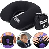 ONWEGO Inflatable Neck Pillow for Travel and Airplane/Best Blow Up U-Shape Plane Pillow - Lightweight Stay Cool Fabric - Head and Neck Support - Mouth Inflating, No Pump Needed (Black)