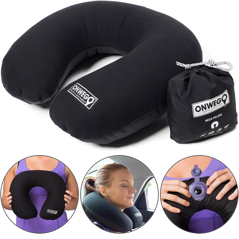 Amazon.com: ONWEGO almohada de cuello inflable con parte ...