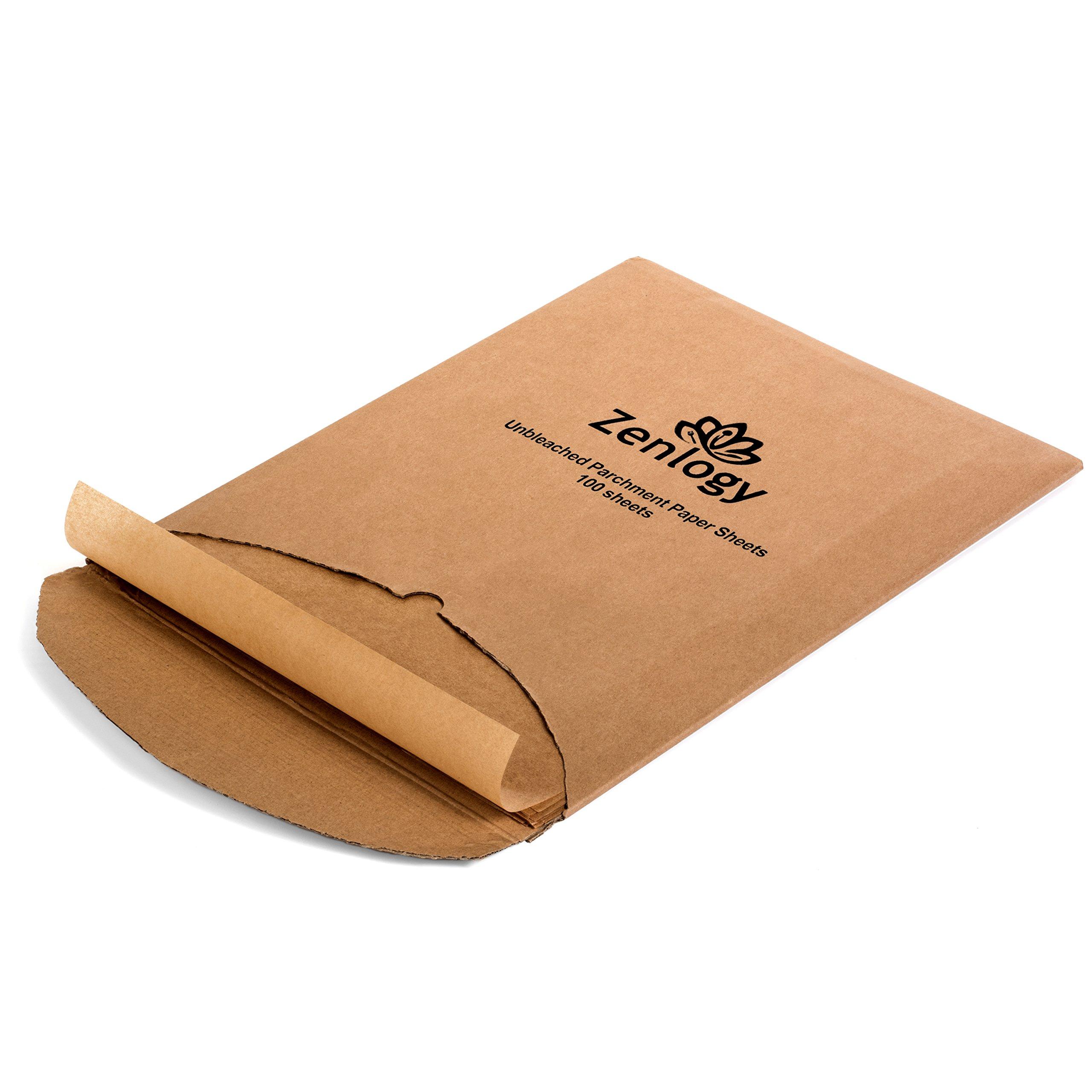 Zenlogy 12x16 Unbleached Parchment Paper Baking Sheets (100 Pcs) - Exact Fit for Your Half Sheet Pans …