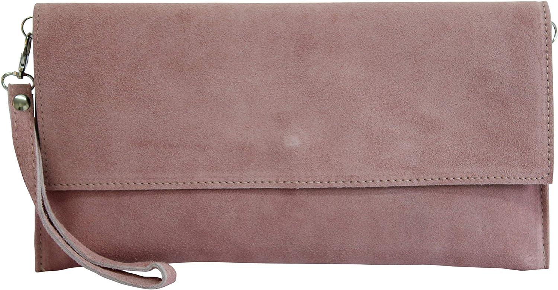 AMBRA Moda WL811 - bolsa de embragues, envelope clutch, carteras de mano de ante genuino para mujer