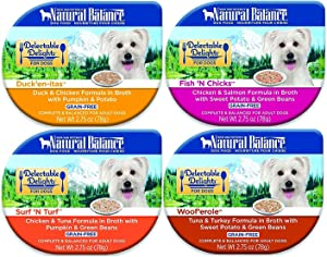 Natural Balance Delectable Delights 2.75-oz tubs Grain-Free Wet Dog Food, Case of 16 with 4 Flavors - Fish 'N Chicks, Duck'en-itas, Surf 'N Turf, and Woof'erole