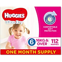 Huggies Ultra Dry Nappies, Girls, Size 6 Junior (16kg+), 112 Count, One-Month Supply, Packaging May Vary