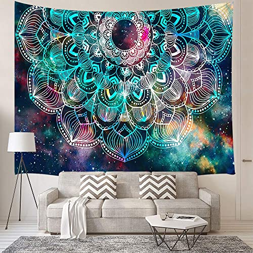 Mandala Wall Tapestry Large Abstract Ancient Geometric with Star Field and Colorful Galaxy Wall Hanging Tapestry Blanket for Bedroom Living Room Dorm Wall Decor Art Tapestry Bedspread 90×70 inches