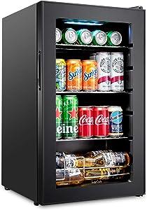 Ivation 101 Can Beverage Refrigerator | Freestanding Ultra Cool Mini Drink Fridge | Beer, Cocktails, Soda, Juice Cooler for Home & Office | Reversible Glass Door & Adjustable Shelving - Black