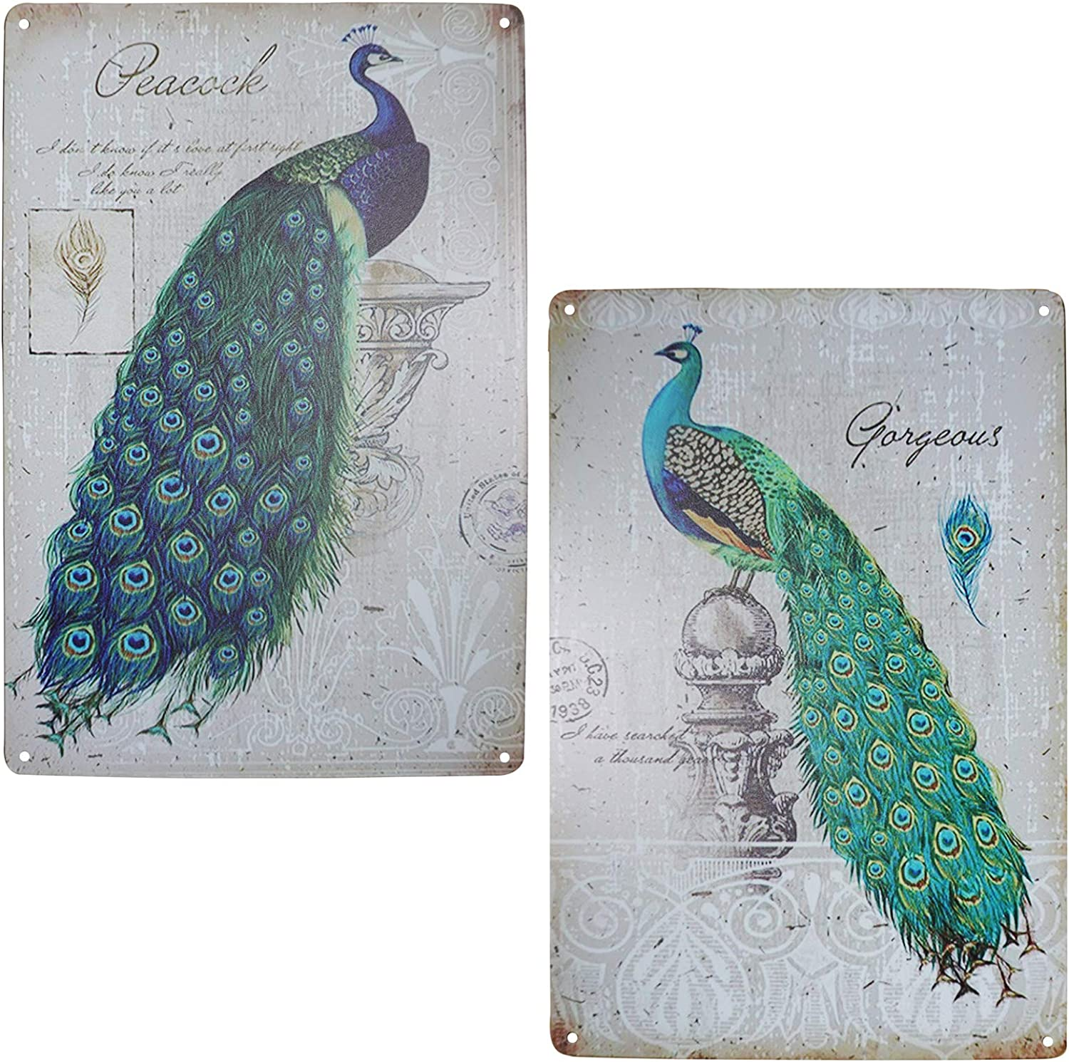 TISOSO Elegant Proud Peacock Tin Sign Art Oil Painting Wall Decor Garage Diner Cafe Vintage Metal Bar Signs for Home Living Room Bedroom Bathroom Office 2pcs-8x12inch