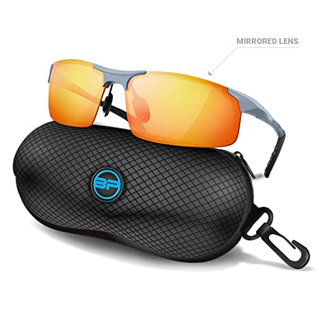 ae999a41fd6 Amazon.com   BLUPOND Sports Sunglasses for Men Women - Anti Fog Polarized  Shooting Safety Glasses for Ultimate Eye Protection (Orange Mirror)   Sports    ...