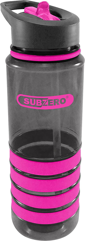 Subzero 25oz (750ml) Tritan BPA-Free Bottle with No Slip Silicone Grips, Bonus Straw, Dishwasher Safe