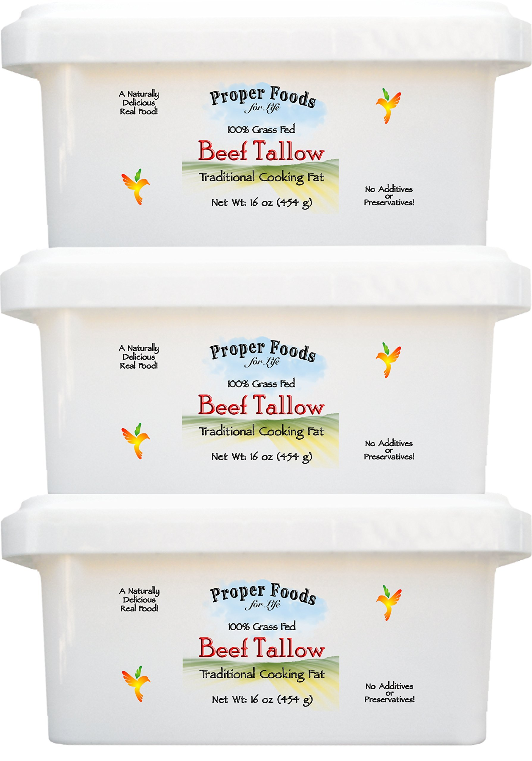 Proper Foods 100% Grass-Fed Beef Tallow, Cooking & Baking, 16 oz (Pack of 3) by Proper Foods For Life (Image #2)
