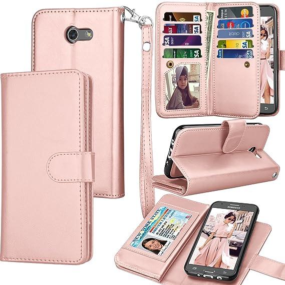 low priced 77ebb bd03f Tekcoo for Galaxy J3 Emerge / J3 Prime / J3 Luna Pro / J3 Mission / J3  Eclipse Wallet Case, Luxury PU Leather Credit Card Slots Holder Carrying  Folio ...