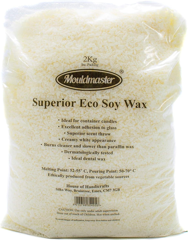 Moldmaster - Bolsa de Cera de Soja ecológica para Velas (2 kg), Color Blanco
