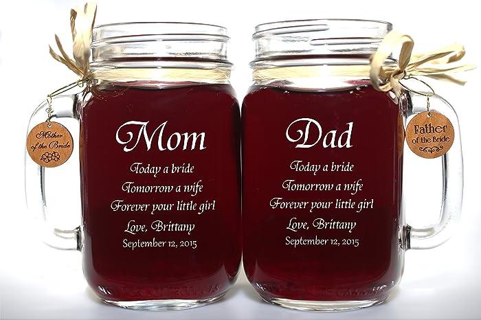 Amazon.com: Mom and Dad of Bride Wedding Gift Mason Jars, Mother ...