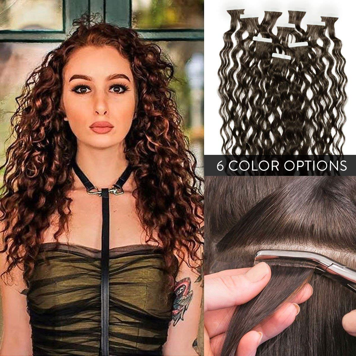 """100% Remy Premium Curly Tape In Human Hair Extensions 22"""" by Perfect Locks 