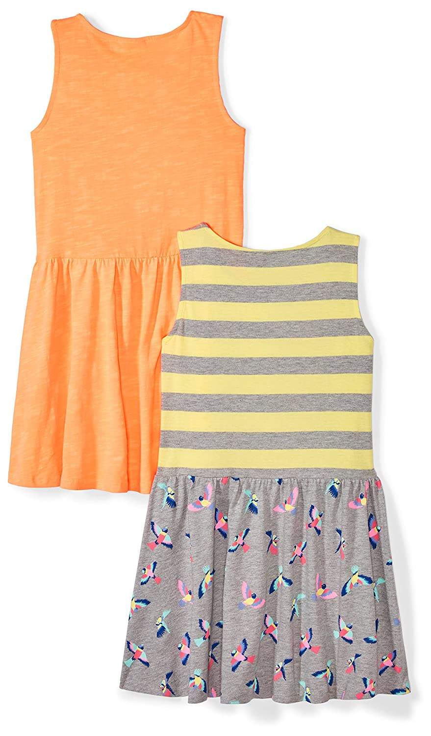 53b7ee44f Amazon.com  Amazon Brand - Spotted Zebra Girls  Toddler   Kid 2-Pack Knit  Sleeveless Fit and Flare Dresses  Clothing