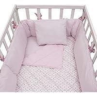 Cary Pink Flowers Algodón/Poliéster Juego de cuna para Bebé niña 4 piezas Edredón para cuna 70 x 100 centímetros…