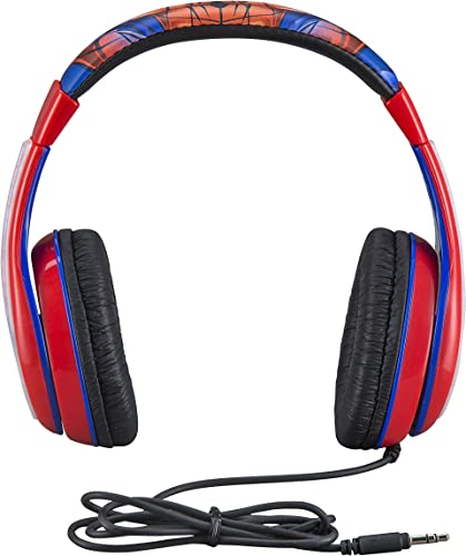 Spiderman Kids Headphones, Adjustable Headband, Stereo Sound, 3.5Mm Jack, Wired Headphones for Kids, Tangle-Free, Volume Control, Foldable, Childrens Headphones Over Ear for School Home, Travel