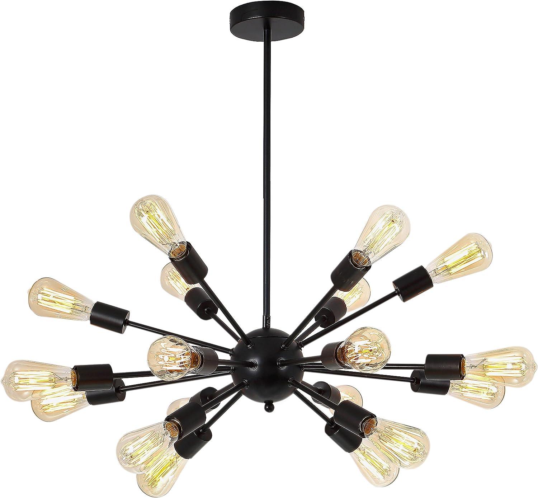 Electro_BP Vintage Metal Sputnik Large Chandelier Edison Light Fixture Industrial Starburst Lighting with 18-Lights Black Paint Finished