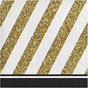 Creative Converting, Black and Gold 16-Count Paper Beverage Napkins, One size