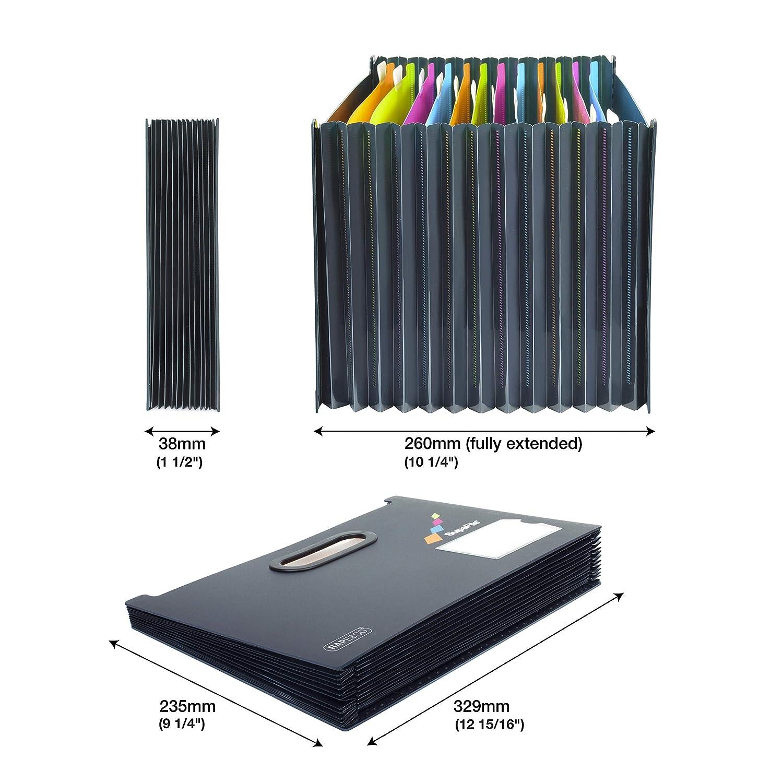 Rapesco 1489 A4 SupaFile 13-fach F/ächermappe Erweiterbare Ordnungsmappe Schwarz mit buten F/ächern