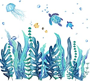 3D Ocean Grass Seaweed Wall Decals Undersea Wall Stickers Sea Turtles Jellyfish Fish Removable Vinyl Wall Sticker for Kids Babys Bedroom Bathroom Living Room Wall Decoration