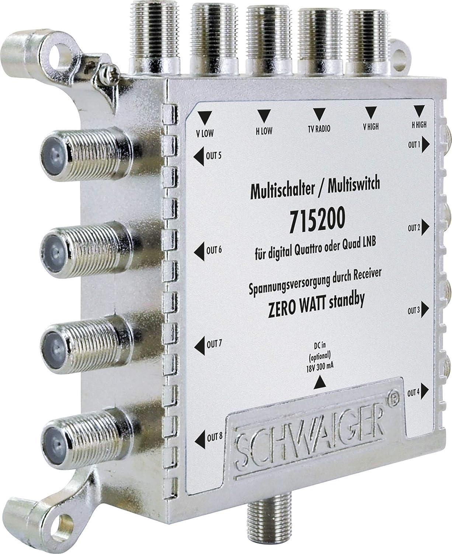 SCHWAIGER -5200- Multiswitch 5 > 8 | Distribuye 1 señal SAT a 8 participantes | divisor SAT | multiswitch digital | en combinación con un Quattro LNB ...