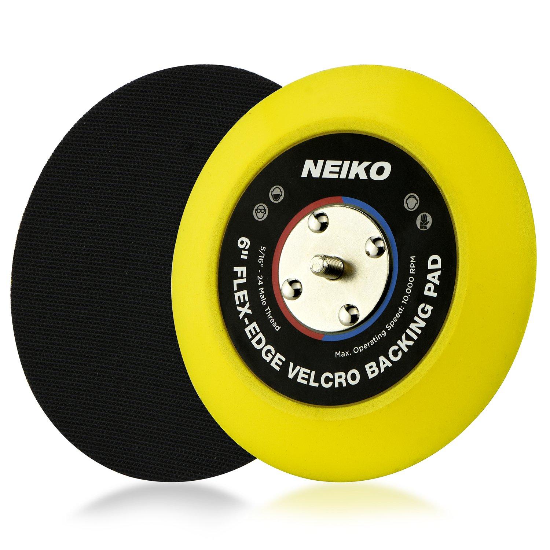 "Neiko 30267A Flexible Edge Hook and Loop PU Backing Pad for DA Sander Polisher Buffer | 6-Inch, 10,000 RPM, 5/16""-24 Thread"