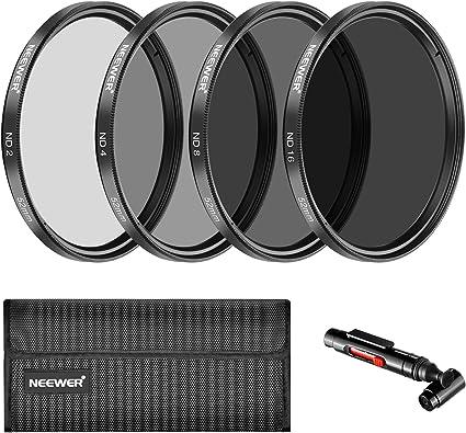 52 mm, ND2, ND4, ND8, ND16, con l/ápiz para Objetivo, Bolsa de Filtro, Parasol, Tapa de Objetivo y Gamuza de Microfibra Kit de filtros para c/ámara r/éflex Zacro
