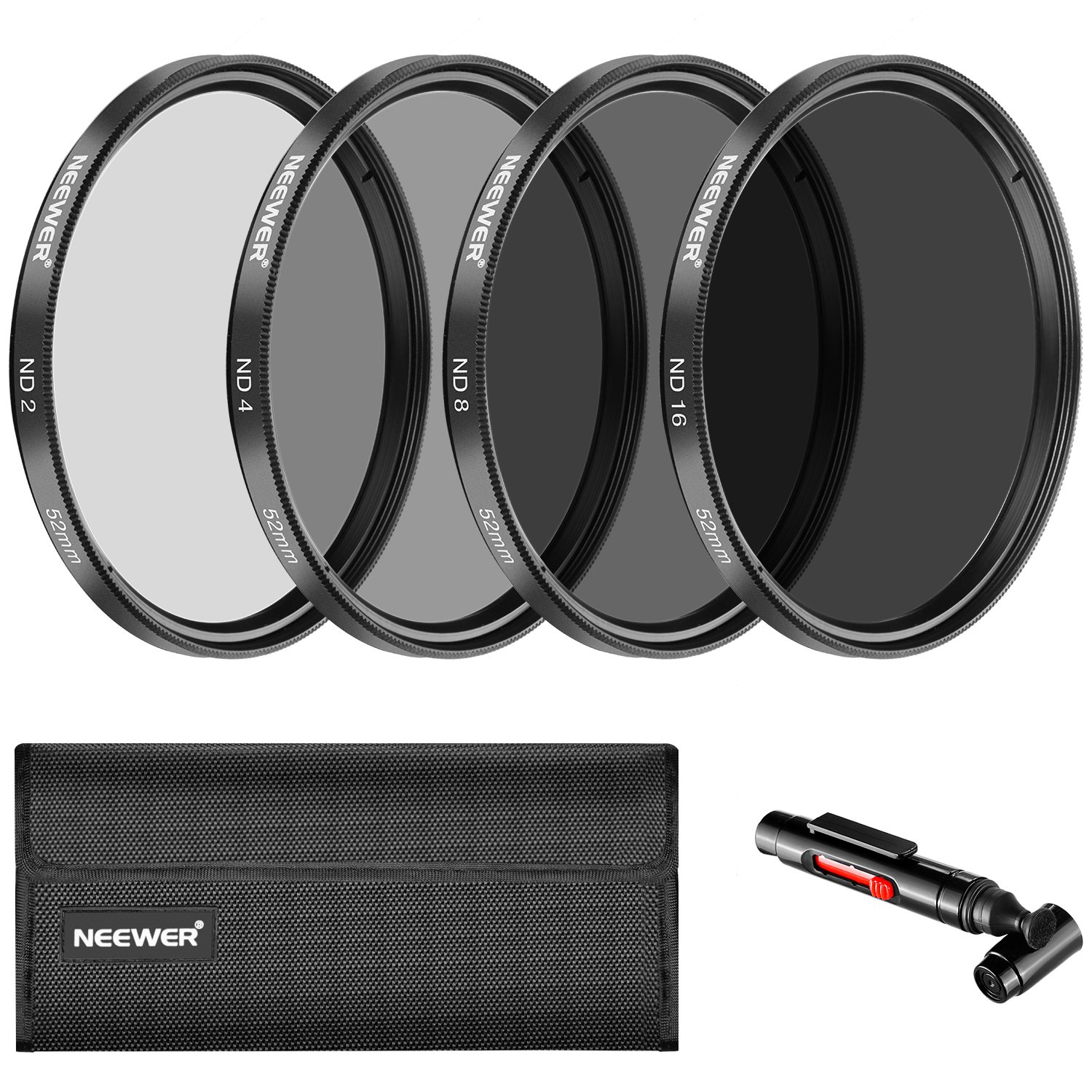 Neewer 52 mm Neutral Density ND2 ND4 ND8 ND16 Filter and Accessory Kit for Nikon D3300 D3100 D3000 D5300 D5200 D5100 D5000 D7000 D7100 DSLR, Lens Pen, Filter Bag by Neewer