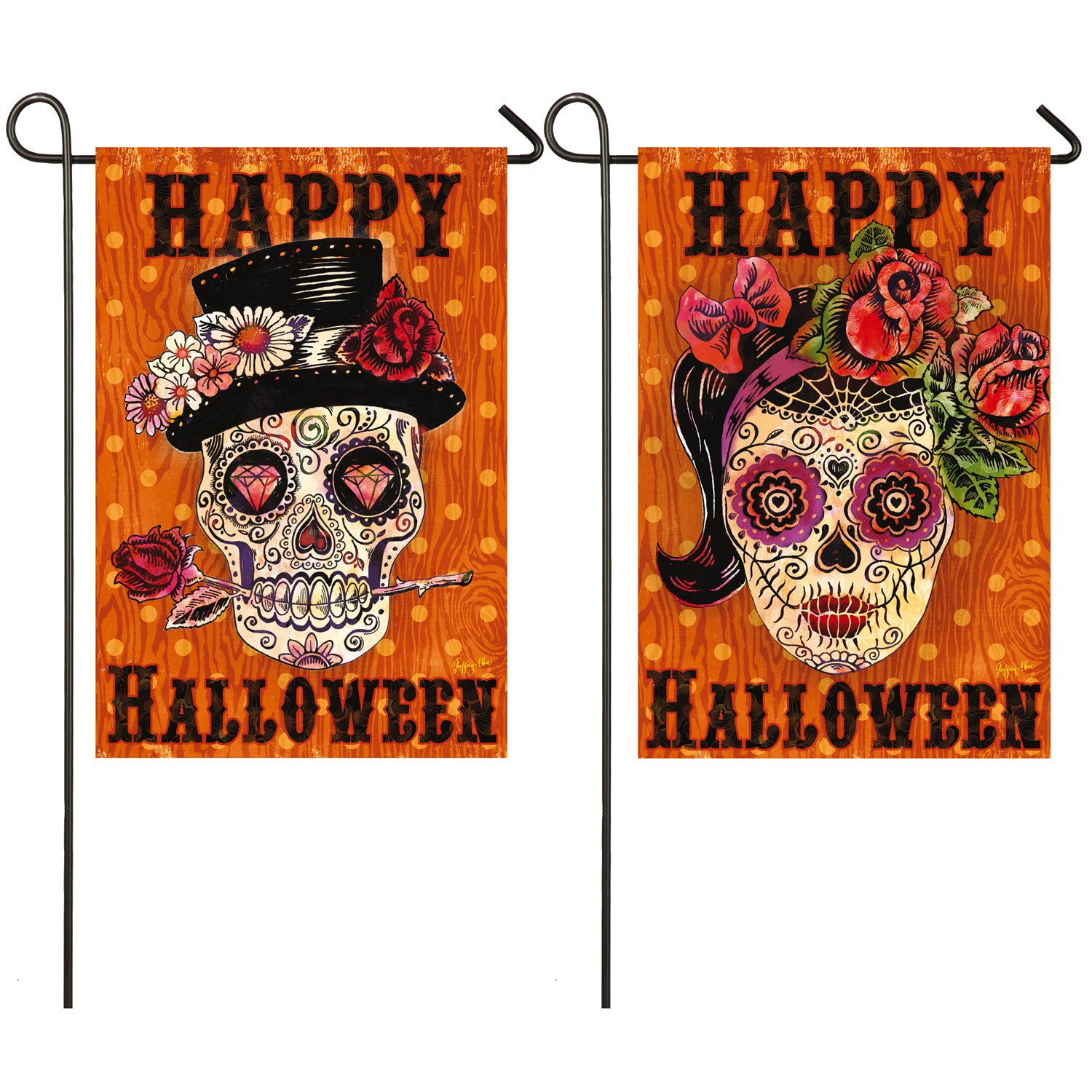 Evergreen Sugar Skulls, Day of the DeadOutdoor Safe Double-Sided Suede Garden Flag, 12.5 x 18 inches