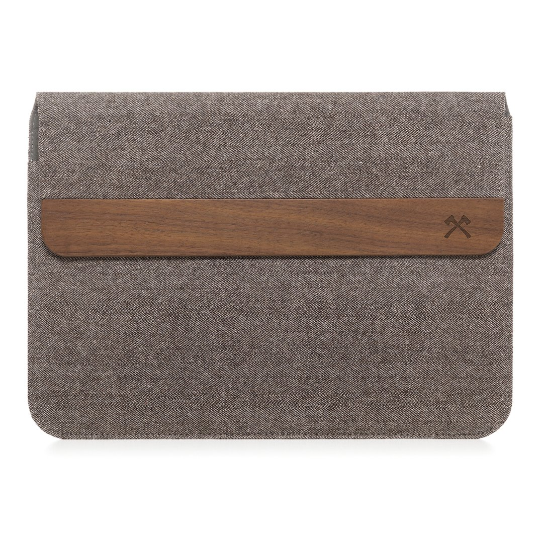 Woodcessories EcoPouch - Wooden MacBook Bag - Premium Case, Pouch for all MacBook & various Notebooks made of real, FSC certified walnut wood (MacBook 11-13'', Walnut/Grey-Brown)