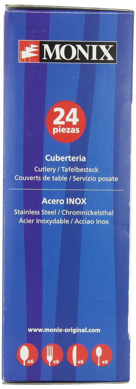 Monix Venecia - Set de cubiertos 24 piezas, cubiertos de acero inox 18/10, estuche y cuchillo normal: Amazon.es: Hogar