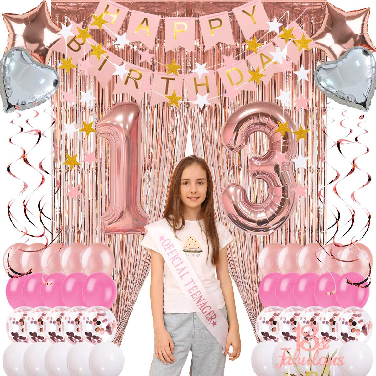 13th Birthday Decorations for Girls Rose Gold, 13th Party Supplies Pink, 13th Birthday Cake Topper and Sash, 13 Balloons Numbers Rose Gold Pink and White Balloons, Hanging Swirl Foil Fringle Curtain