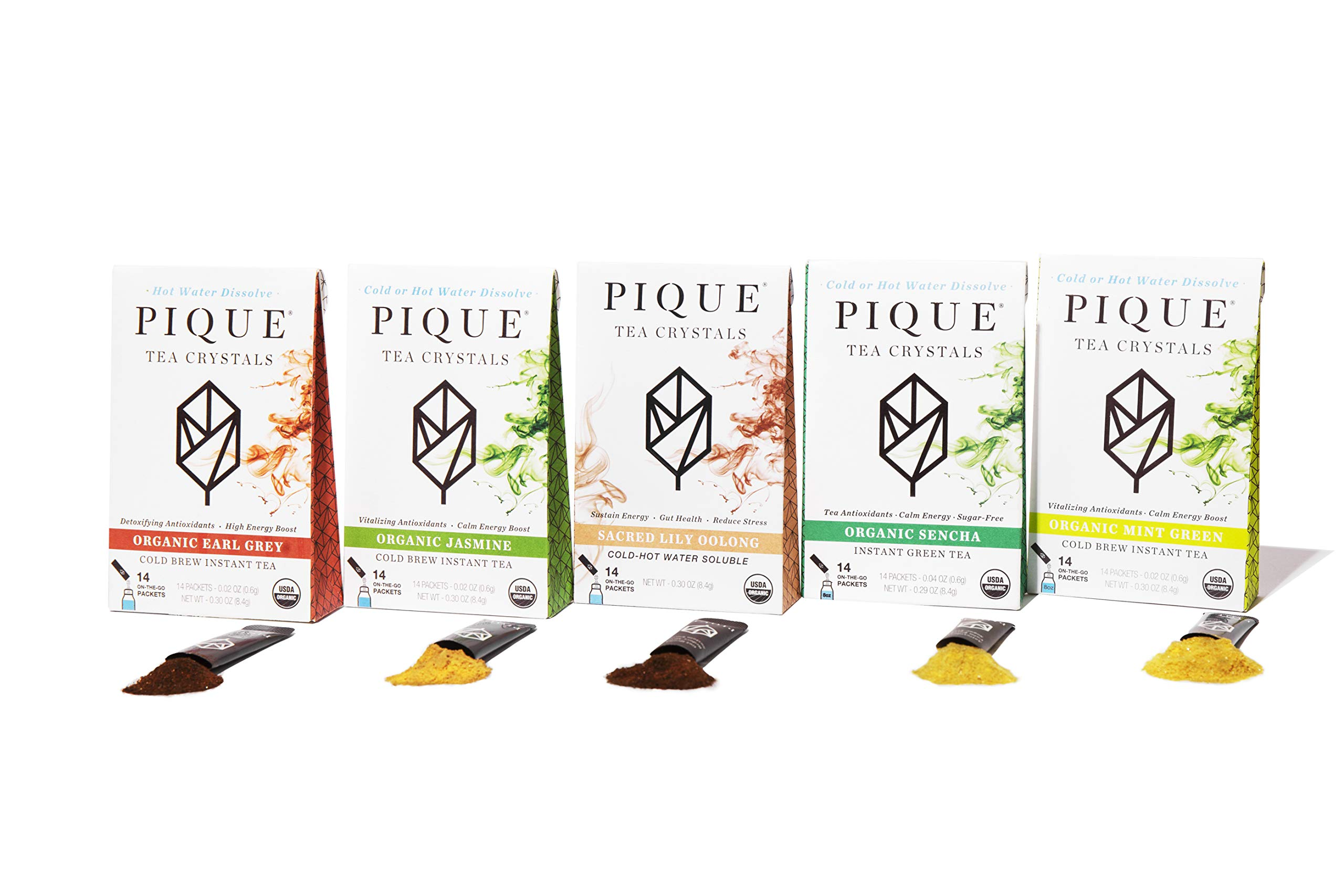 Pique Organic Variety Tea Crystals Sampler, Antioxidants, Energy, Gut Health, 70 Single Serve Sticks (Pack of 5)