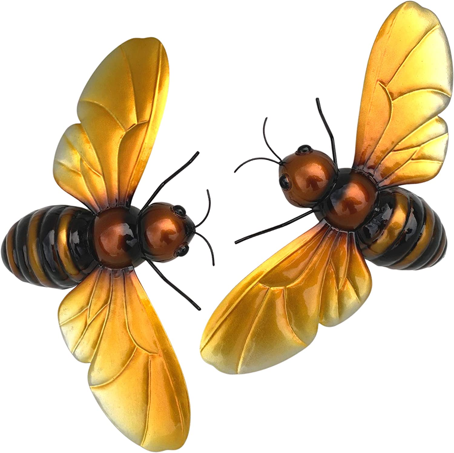 Honey Bee Décor; Indoor Outdoor Metal Wall Art; 2 Beautiful Metal Bee Decorations for Home or Garden Wall Art; Backyard Décor for Fence, Patio, Porch or Inspirational Bee Kitchen Décor; by Ekhaya