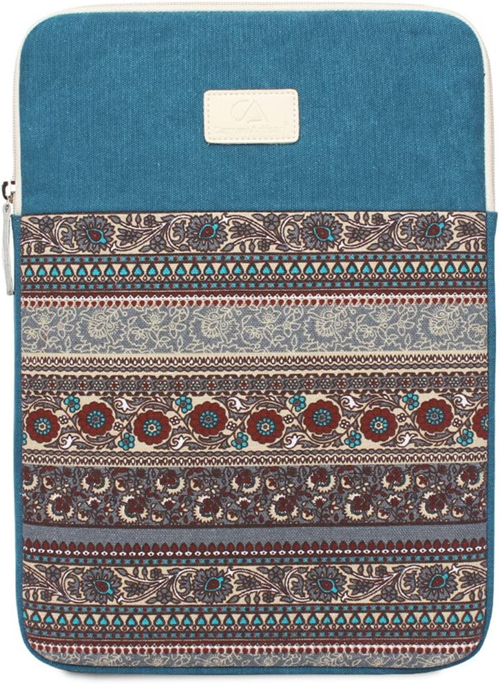 11.6 Inch Laptop Sleeve 11 Inch Bohemian Canvas Protective Notebook Bag Computer Case Cover for MacBook Pro MacBook Air Chromebook Acer Dell HP Samsung Sony (Vertical, Blue)