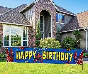 KindaJoy Spider Themed Man Happy Birthday Banner, Red Blue Superhero Spider Man Themed Birthday Party Supplies Decor for Boys (9.8 X 1.6 Feet)