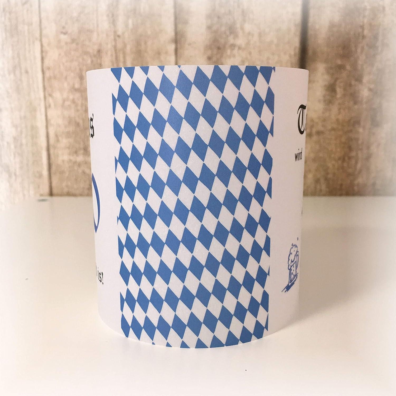 4er Set Tischlicht Tischlichter Oktoberfest bayrisch runder Geburtstag 40 50 60 70 80 90 Tischdeko personalisierbar Rauten blau